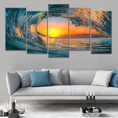 Sunset Sea Wave Canvas Wall Art