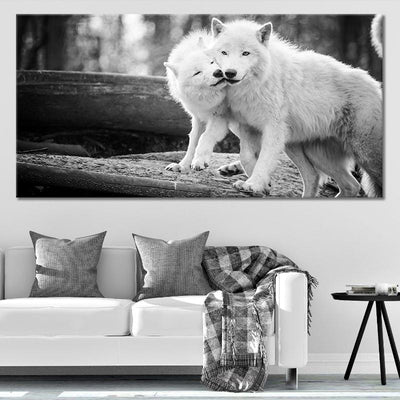 Sweet White Wolf Couple Canvas Wall Art