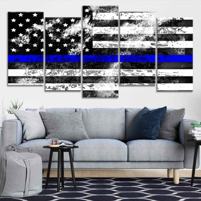 Police Flag Canvas Wall Art