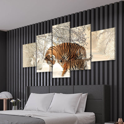 tiger cub 5 piece canvas art