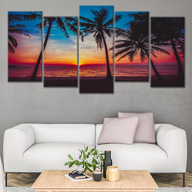 Tropical Beach Paradise at sunset Canvas Wall Art