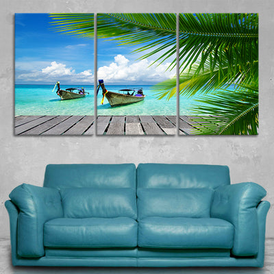 Tropical Dock 3 piece wall art