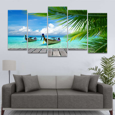 Tropical Dock 5 piece wall art