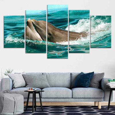 Two Dolphins Kissing Multi Panel Canvas Wall Art