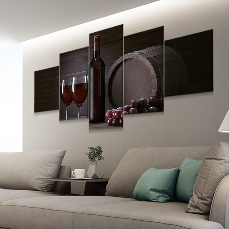 2 glasses of red wine a bottle grapes and a barrel canvas prints cheap