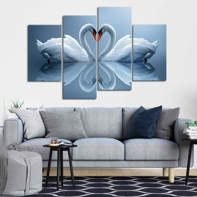 Two Swans Make Up A Heart Reflected On Water 5 piece canvas set