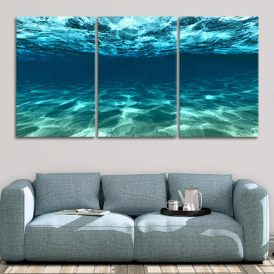 underwater picture of the ocean 3 piece wall art