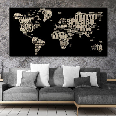 Thank You World Map Multi Panel Canvas Wall Art