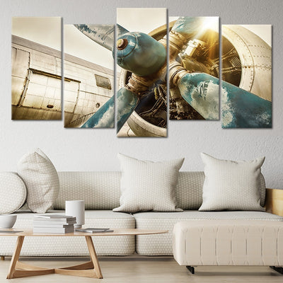vintage airplane propellers 5 piece wall art