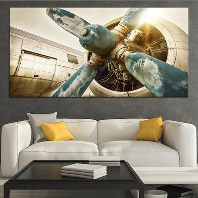 vintage airplane propellers canvas wall art large