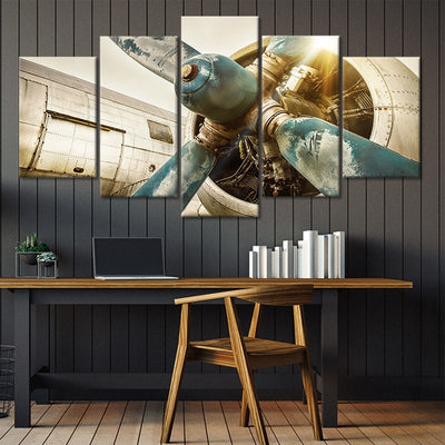vintage airplane propellers 5 piece canvas art