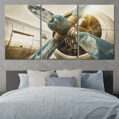 vintage airplane propellers 3 piece wall art