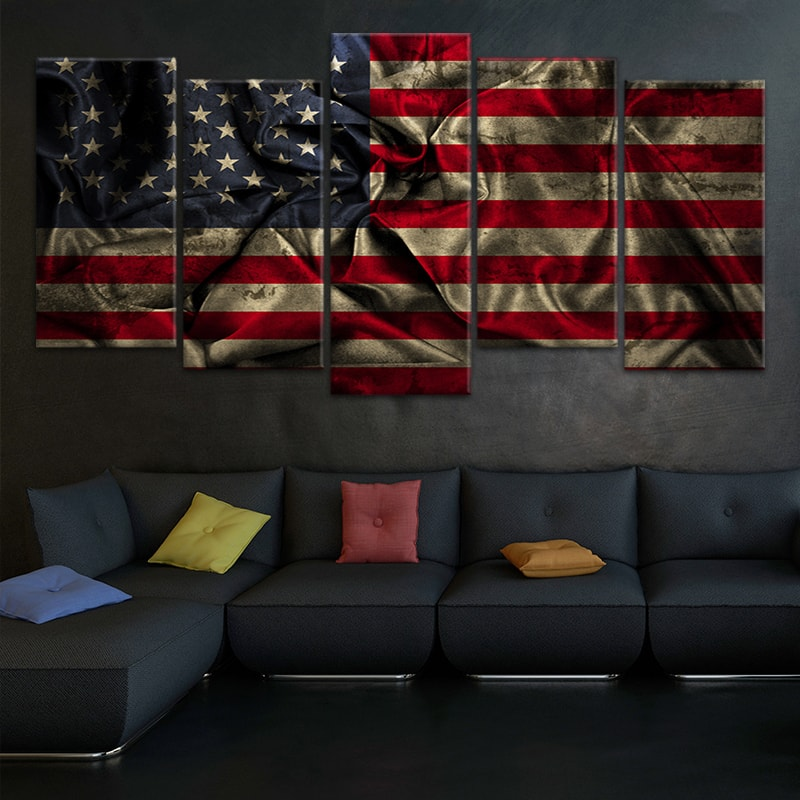 Vintage Windy American Flag Canvas Wall Art