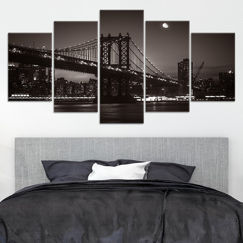 Brooklyn Bridge Black and White Multi Panel Canvas Wall Art