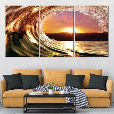wave sunset 3 piece wall art