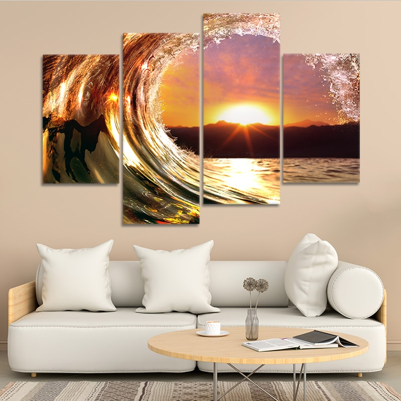 wave with sunset wall art set of 4