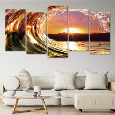 wave at sunset 5 piece wall art