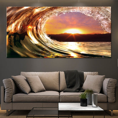 sunset wave canvas wall art large