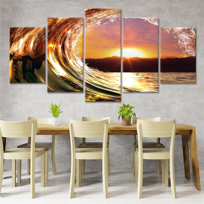 sunset wave 5 piece canvas art