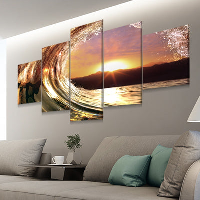 wave at sunset 5 piece canvas art