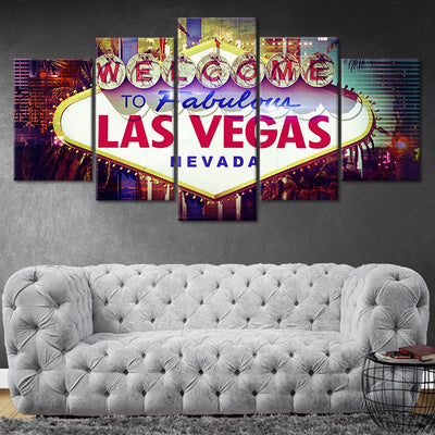 Welcome To Fabulous Las Vegas Nevada Sign Canvas Wall Art