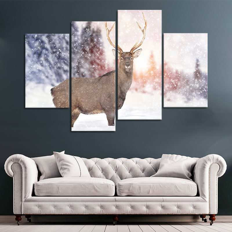 White Tail Deer in the Snow canvas prints cheap