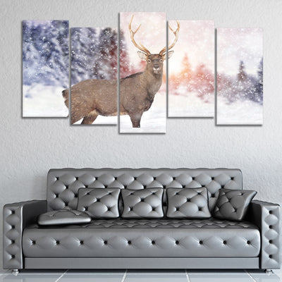 White Tail Deer in the Snow canvas prints online