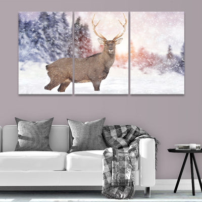 White Tail Deer in the Snow canvas prints near me