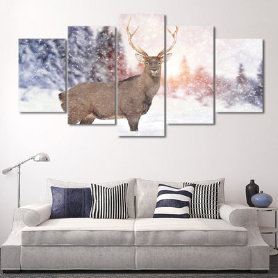 White Tail Deer in the Snow canvas wall art