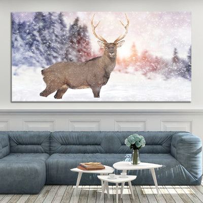 White Tail Deer in the Snow Wall Canvas