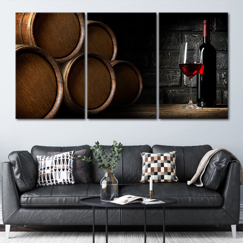 Wine Barrels Canvas Wall Art