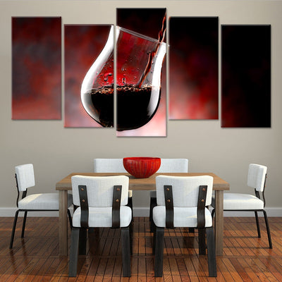Wine Glass Oz 5 piece wall art