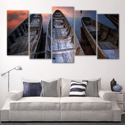 Wooden Fishing Boats canvas wall set