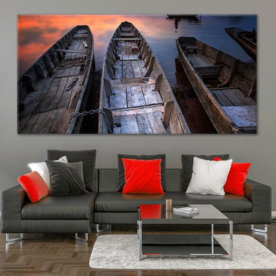 Wooden Fishing Boats Large Wall Art