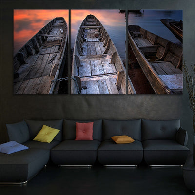 Wooden Fishing Boats canvas wall art