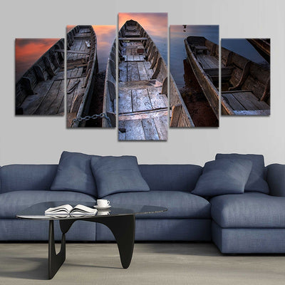 Wooden Fishing Boats Canvas Set