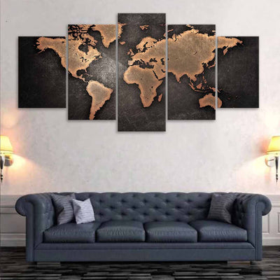 Brown World Map Multi Panel Canvas Wall Art