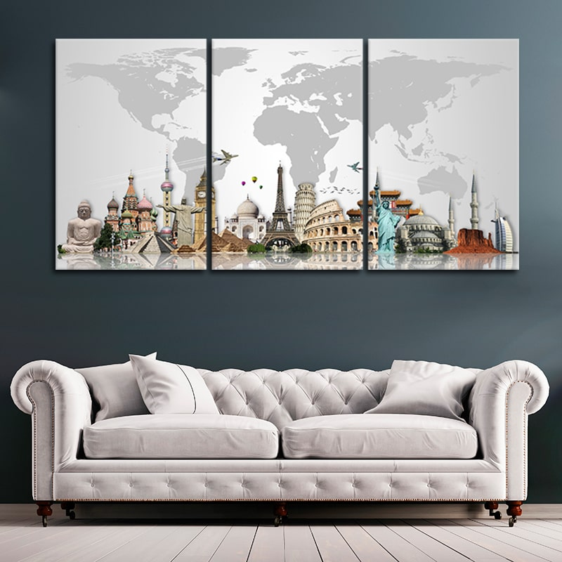 map of the world wall decor 3 piece wall art
