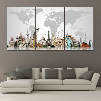 world map decoration 3 piece wall art