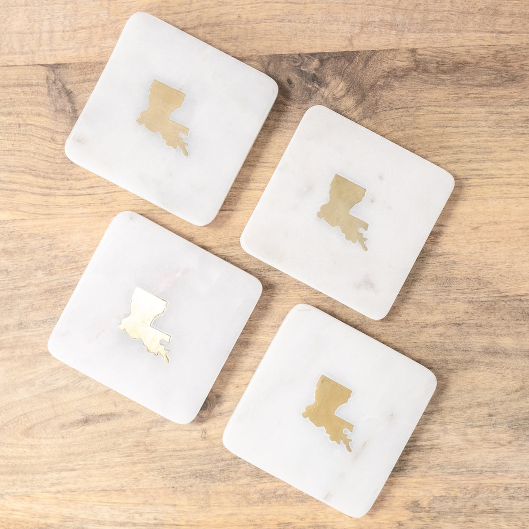 Louisiana Marble Coaster Set