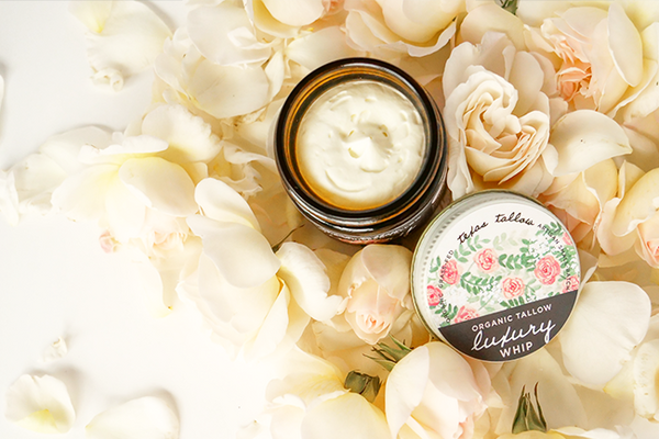 luxury skincare tallow whip with elderflower and rose oils for aging, crepey, wrinkled skin