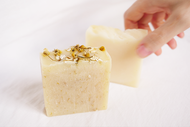 natural, organic tallow soap, chamomile and oat soap, handmade handcrafted soap, beautiful soap, cold processed