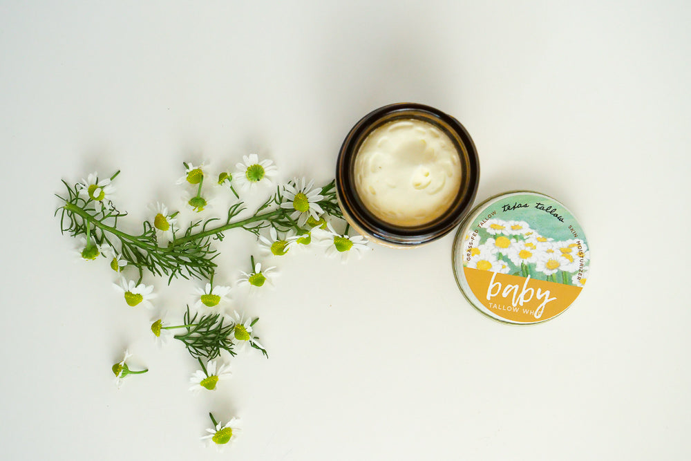 tallow salve, whip, balm, cream, moisturizer, green beauty, texas tallow, nontoxic skincare, herbal infused oils, no essential oils, daily facial cream, grass-fed beef tallow, baby butter, baby lotion, natural baby products, baby skincare, eczema cream, cradle cap treatment, natural moisturizer, green mommas, baby shower gift, chamomile, calendula, chickweed, plantain, herbal balm