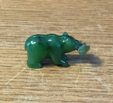 Jade Bear with fish, 1""