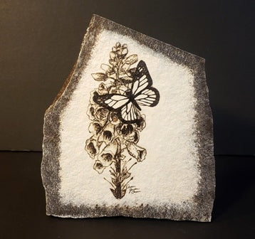Stone Art, Butterfly and Foxglove, Black