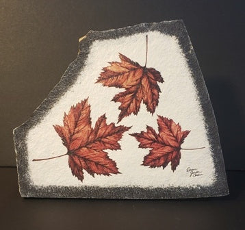 Stone Art, Maple Leaves, Red