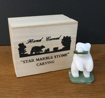 STAR MARBLE Bear Standing with Fish, 2""