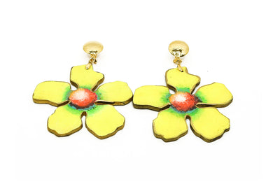 Aretes Flor Amarillo - Puro Color / Large
