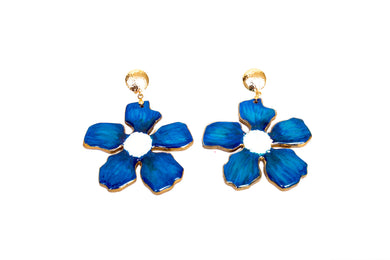 Aretes Flor Azul - Puro Color / Large