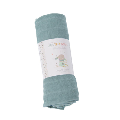 Moulin Roty | Copertina Swaddle 70x70cm, Verde, Mussola Cotone 665291